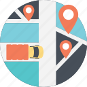 delivery location, delivery route, package delivery, transportation route, truck delivery icon