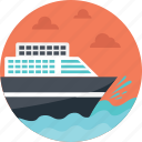 cruise ship, sea route, sea shipment, sea transportation, travel by sea icon