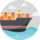 cargo ship, cargo delivery, delivering shipment, delivery by sea, mega transportation icon
