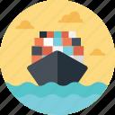 cargo ship, sea route, cargo ship enroute, sea shipping, shipment icon
