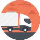 auto-shipping truck, automatic delivery, delivery truck, high-tech shipping, white truck icon