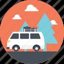 bus trip, caravan road trip, passengers, road trip, trip in caravan icon