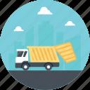 dump truck, dumping trash, garbage truck, trash transportation, trash truck icon