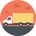 delivery enroute, package delivery, delivery truck, cargo truck, yellow cargo truck icon