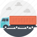 cargo truck, delivery truck, freight truck, package, trucking post icon
