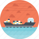 cargo ship, container ship, sea route, sea shipping, shipment icon