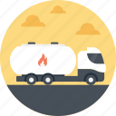 delivery truck, gas truck, hazardous liquid, oil tanker, oil truck icon