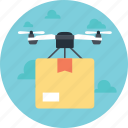 air delivery, air transportation, airbourne, delivery by drone, drone air delivery icon