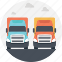 container trucks, land route, road route, trucks on road, two container trucks icon