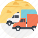 cargo trucks, delivery services, delivery transportation, freight trucks, trucks on road icon