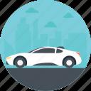 expensive car, automobile, luxurious car, white sports car, sports car icon