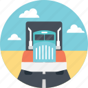 delivery route, delivery truck, enroute transport, giant delivery truck, truck on road icon