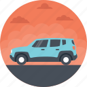 blue jeep, car, family car, jeep vehicle, public transportation icon