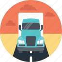 blue truck, delivery vehicle, land route, truck delivery, truck on road icon