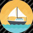 sailboat, sea route, sea shipping, shipment, white sailboat icon