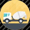 cement dumper, cement truck, storage truck, transportation vehicle, white cement truck icon