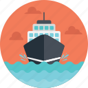 cargo ship, delivering cargo, delivery route, delivery ship, sea route icon