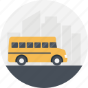 public transport, yellow bus, student transportation service, school bus, bus driver icon