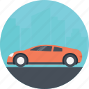 family car, moving car, red car, transportation, vehicle icon
