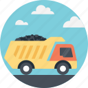 cargo truck, coal delivery, coal transportation, delivery truck, transporting coal icon