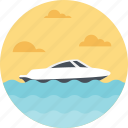 boat sailing, sea route, shipment, speed boat, speeding boat icon