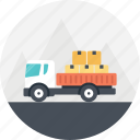 delivery transport, delivery truck, freight truck, package delivery, truck enroute icon