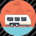 camping in woods, camping van, caravan camper, traveling in caravan, vanity van icon