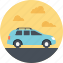blue car, family car, family outing, family trip, family vacation icon