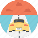 car on tracks, racing, speeding car, sports car, yellow racing car icon