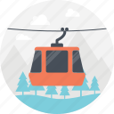 tourism transport, cart on cables, funicle, cable cart, red cart icon