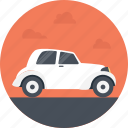 driving, old white car, transportation, vintage car, white car icon