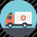delivery truck, medical emergency, medical transport, medicine delivery truck, package delivery icon
