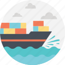 cargo ship, delivery by sea, sea freight, sea route, shipment icon