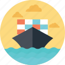 cargo ship, container ship, delivery by sea, sea transportation, shipment icon