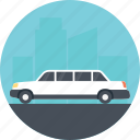 driving a limo, limousine, luxurious car, luxurious limo, rent a limo icon
