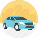 blue car, cheap car, driving a blue car, family car, rental car icon