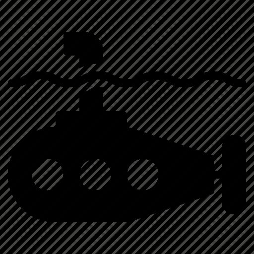 bathyscaph, militaly, nautical, ocean, submarine, transport, underwater icon