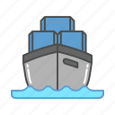 boat, cargo, delivery, sea, ship, shipping, transportation icon