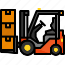 forklift, industry, shipping, storage, transportation, vehicle icon