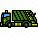 container, garbage, recycling, transportation, trash, truck icon