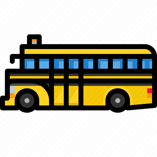 schoolbus, transport, transportation, vehicle icon