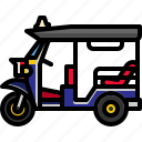 taxi, thailand, transport, transportation, tuktuk, vehicle icon