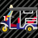 vehicle, transport, thailand, tuktuk, transportation, taxi