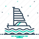 boat, marine, passenger, sailboat, ship, silhouette, wave icon