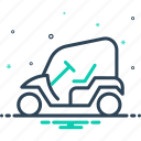 cart, electric, golf, golf cart, opened, transportation, vehicle icon