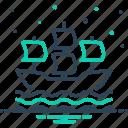 sailboat, sailing, sailing ship, ship, transportation, vintage, wave icon