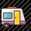 living vehicle, caravan, van dwelling, living van, convoy, camel train icon