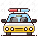 transport, car, cop car, vehicle, cop, police car, sedan icon