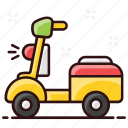 bike, delivery, delivery scooter, delivery vehicle, scooter, transport icon