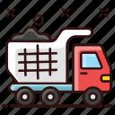 construction truck, dump, dump truck, garbage transport, trash vehicle, truck, waste transport icon
